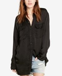 Denim And Supply Ralph Lauren Satin Military Shirt Black