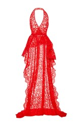 Reem Acra Re Embroidered Lace Halter Top With Back Train Detail