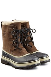 Sorel Caribou Suede And Rubber Short Boots Brown