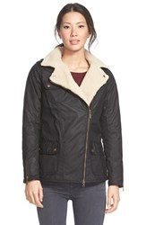 Women's Barbour 'Springer' Fleece Lined Asymmetrical Waxed Cotton Jacket