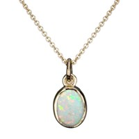 Ewa 9Ct Yellow Gold Oval Pendant Necklace Opal