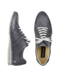 Pakerson Signature Grey Leather Sneaker Shoes Gray