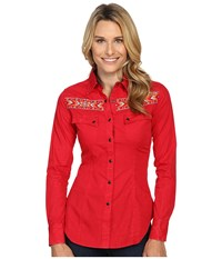 Rock And Roll Cowgirl Long Sleeve Snap B4s8364 Red Women's Clothing