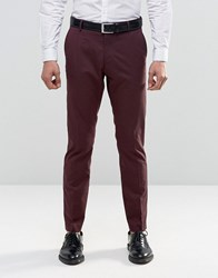Selected Homme Suit Trousers With Stretch In Slim Fit Burgundy Red