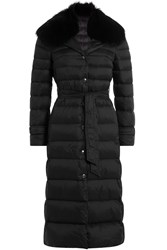 Red Valentino Down Coat With Fur Trimmed Collar Black