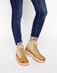 Asos Another Galaxy Leather Hiker Ankle Boots Sand