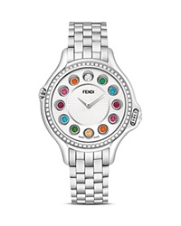 Fendi Crazy Carats Stainless Steel Rotating Gemstones Watch With Diamond Bezel Dial 38Mm Silver Multi
