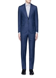 Isaia 'Gregory' Micro Overcheck Wool Suit Blue