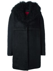 Moncler Gamme Rouge Long Sleeve Cocoon Coat Black