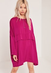 Missguided Oversized Satin Dress Pink Purple
