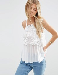 Asos Cami In Knitted Chiffon And Lace Ivory Cream