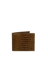 French Connection Leather Billfold Wallet In Croc Effect Brown