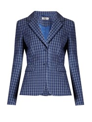 Altuzarra Fenice Checked Seersucker Blazer Blue Multi
