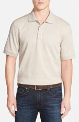 Men's Nordstrom Trim Fit Interlock Knit Polo Beige Oatmeal Dark Heather