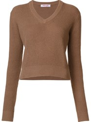 Organic By John Patrick V Neck Cropped Pullover Brown