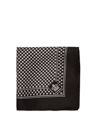 Dolce And Gabbana Circle Print Silk Pocket Square Black Multi
