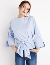 Pixie Market Blue Waist Tie Shirt By New Revival