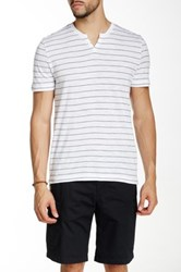 Kenneth Cole Striped Henley Tee White