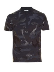 Valentino Rubberised Camouflage Print Polo Shirt Blue Multi