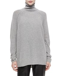 Belstaff Turtleneck Oversized Cashmere Blend Tunic Sweater Gray