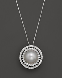 Bloomingdale's Diamond And South Sea Pearl Pendant Necklace In 14K White Gold 18