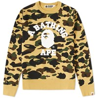 A Bathing Ape 1St Camo College Crew Sweat Yellow