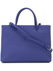 Moschino Embossed Logo Square Tote Blue