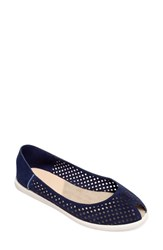Cape Cod Shoe Supply Co. Women's 'Laura' Perforated Peep Toe Flat Navy Nubuck Leather