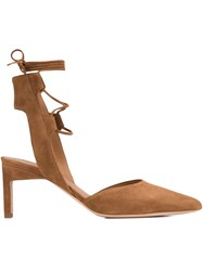 Rosetta Getty Ankle Tie Pumps Brown
