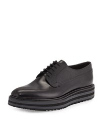 Prada Mixed Media Platform Leather Lace Up Black