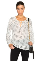 Pam And Gela Printed Gauze Blouse In White