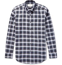 Public School Button Down Collar Checked Cotton Shirt Navy