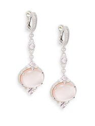Judith Ripka Allure White Sapphire Rock Crystal Pink Corundum Pink Mother Of Pearl And Sterling Silver Drop Earrings