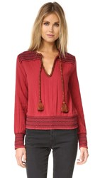 Love Sam Contrast Beaded Top Cranberry