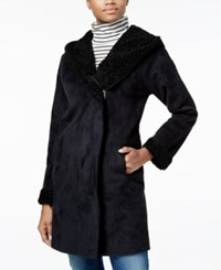 Rachel Roy Asymmetrical Shearling Walker Coat Only At Macy's Black