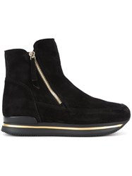 Hogan Zipped Ankle Boots Black