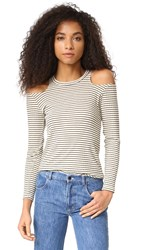 Lna Aj Cold Shoulder Top Beige Black Stripe