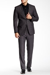 English Laundry Charcoal Plaid Two Button Peak Lapel Suit Gray