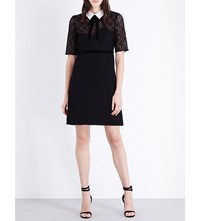 The Kooples Contrast Collar Lace And Crepe Dress Black Ecru