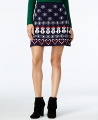 Planet Gold Juniors' Holiday Print Fit And Flare Sweater Skirt Blue Combo
