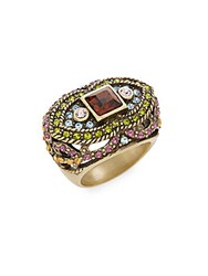 Heidi Daus Femme Fatale Swarovski Crystal And Multicolored Rhinestone Ring Gold Multi