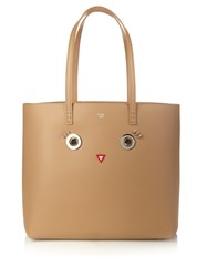 Fendi Roll Embellished Leather Tote Light Brown