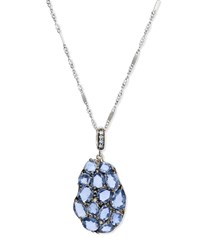 Blue Sapphire And Diamond Wavy Pendant Necklace Rina Limor