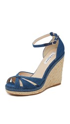 Lk Bennett Litya Jean Wedge Sandals Blue Denim