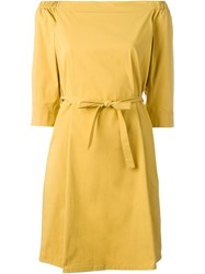 Theory Open Shoulder Dress Yellow And Orange