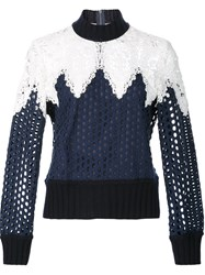 Sea Lace Detail Mesh Sweatshirt Blue