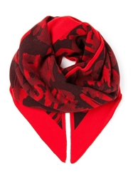 Lala Berlin Slogan Print Triangle Scarf Red
