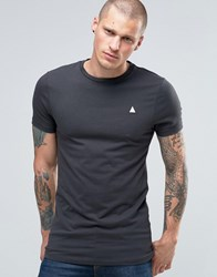 Asos Longline Muscle T Shirt With Logo In Grey Olive
