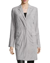 Halston Long Sleeve Suede Cocoon Coat Mist Blue