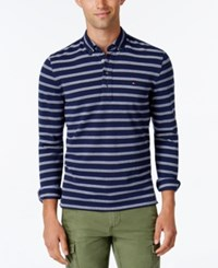 Tommy Hilfiger Men's Vanderbilt Striped Pique Long Sleeve Polo Navy Blazer